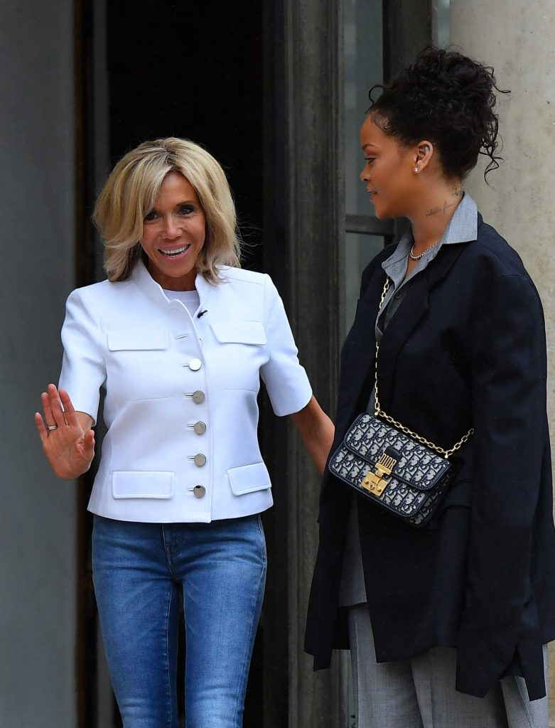 Rihanna is Welcomed by Brigitte Macron at the Elysee Palace in Paris-3