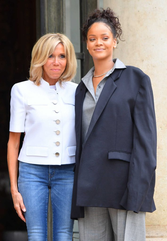 Rihanna is Welcomed by Brigitte Macron at the Elysee Palace in Paris-4