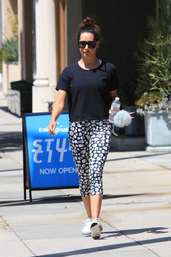 Ashley Tisdale Wears Skull Leggings in Studio City-1