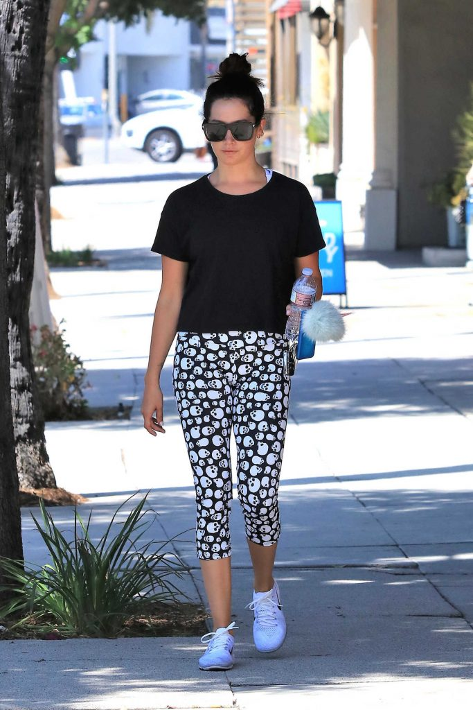 Ashley Tisdale Wears Skull Leggings in Studio City-2