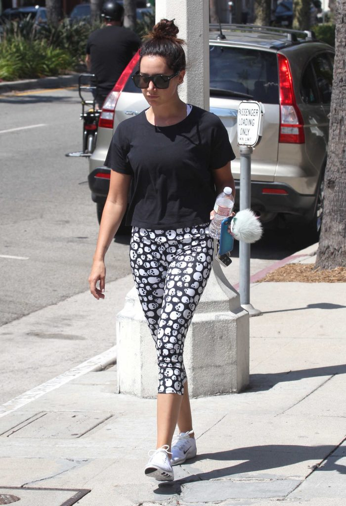Ashley Tisdale Wears Skull Leggings in Studio City-5