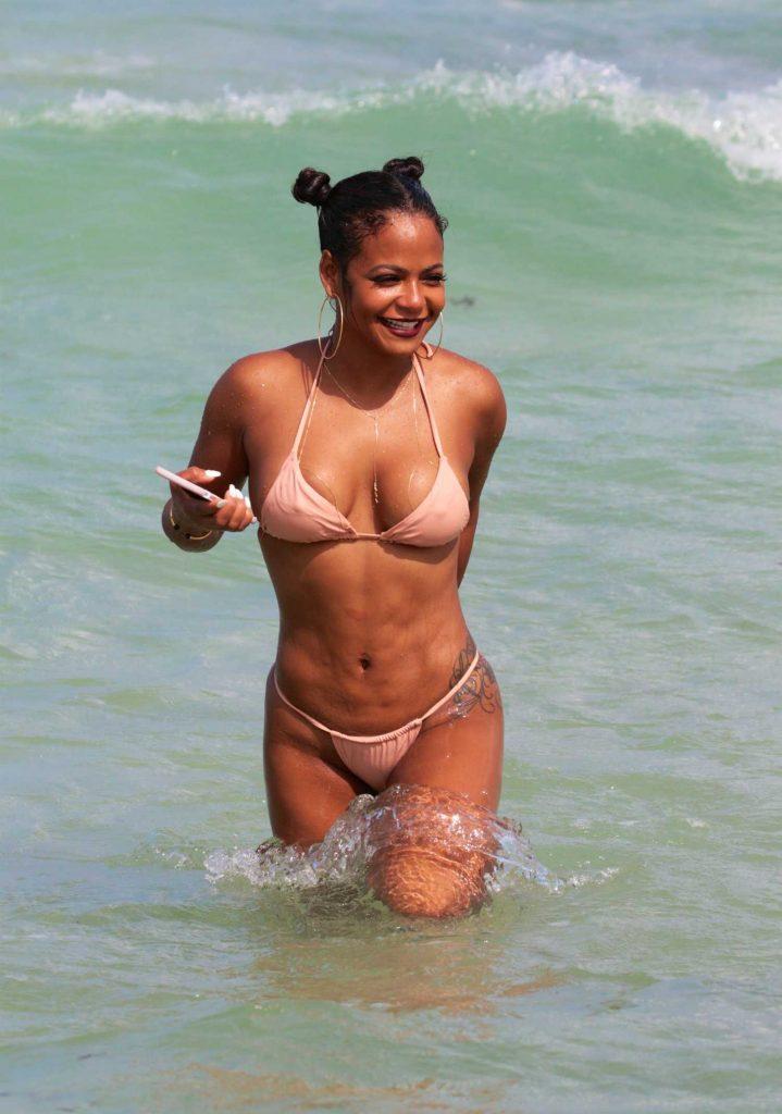Christina Milian Wears a Pink Bikini at the Beach in Miami-1