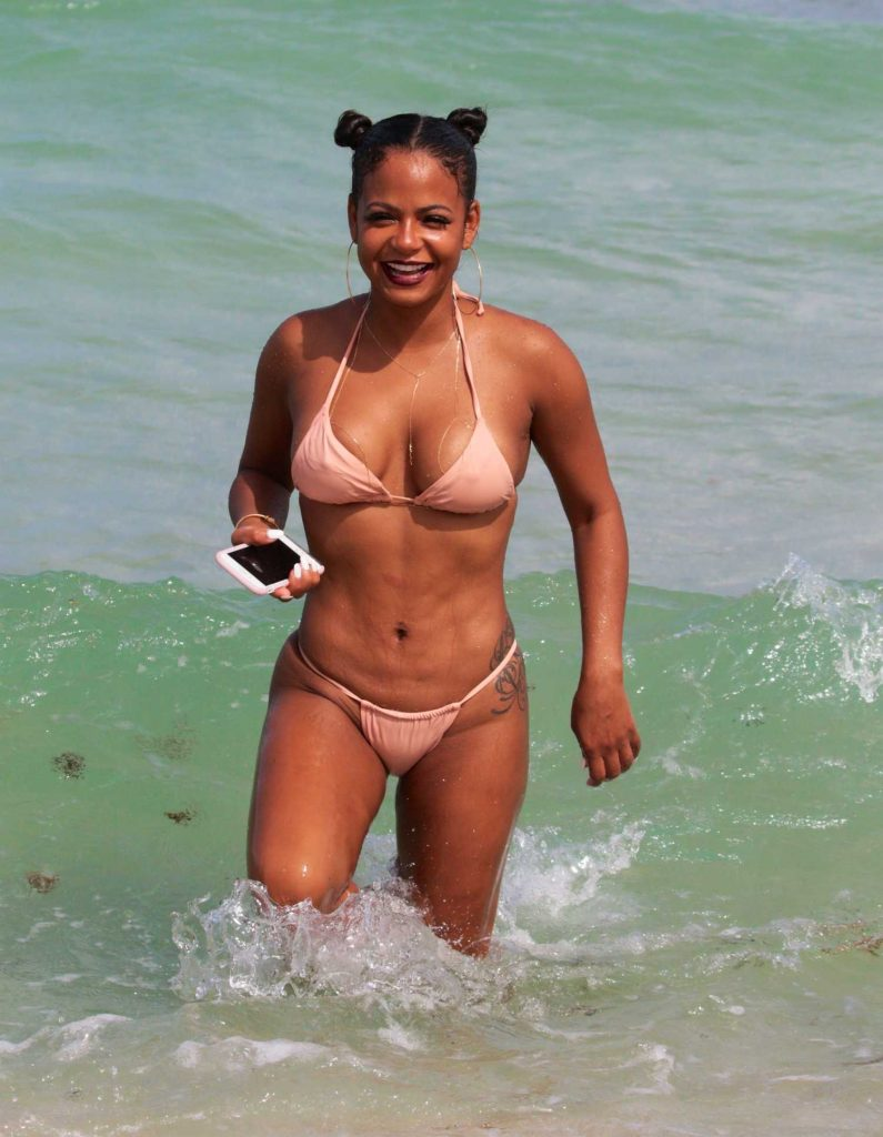 Christina Milian Wears a Pink Bikini at the Beach in Miami-3