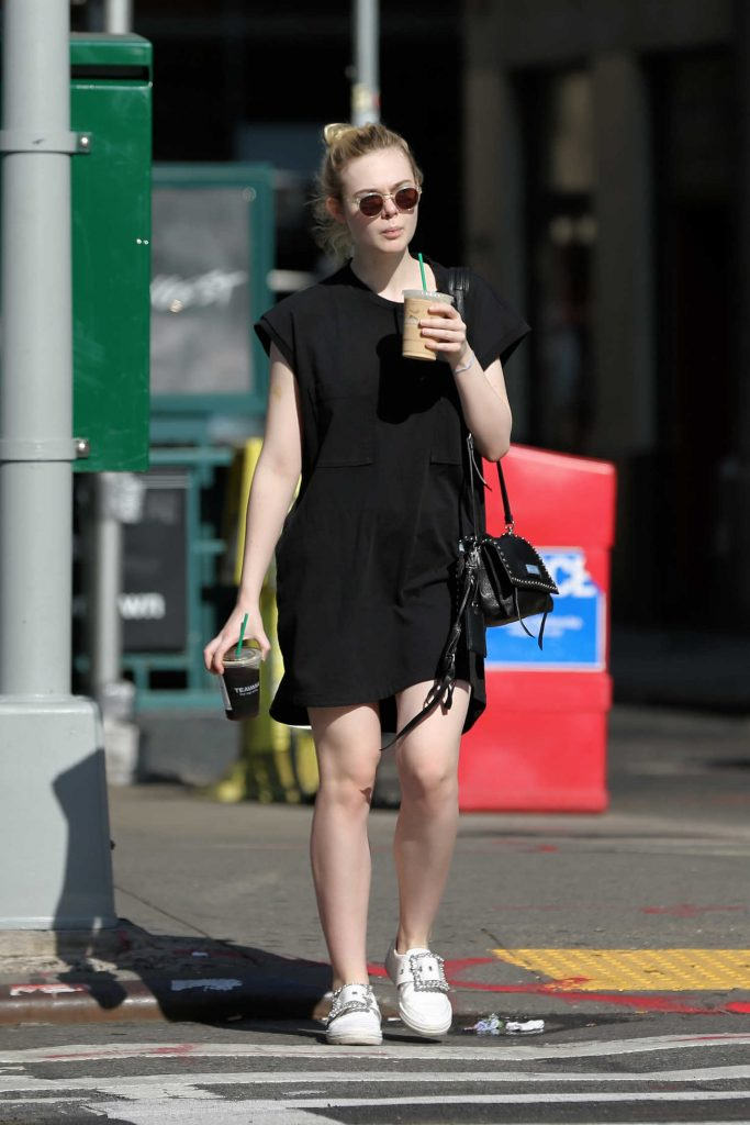 Elle Fanning Walks Home With an Iced Coffee in NYC-2