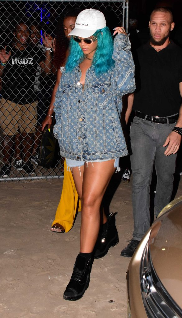 Rihanna Wears a Turquoise Wig at a Carnival in Barbados-1