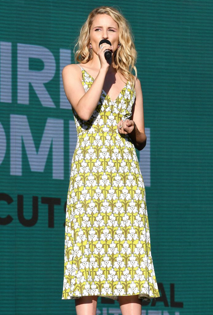 Dianna Agron Speaks on Stage During Global Citizen Festival at Central Park in NYC-1