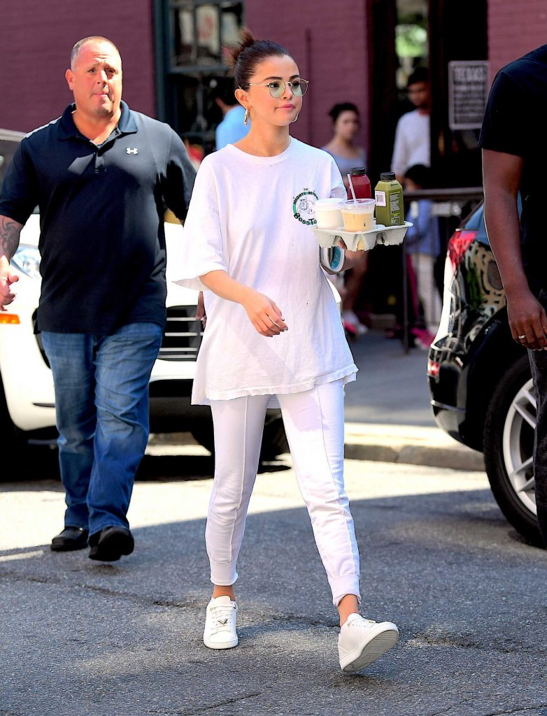 Selena Gomez Wears all White Out in NYC-1