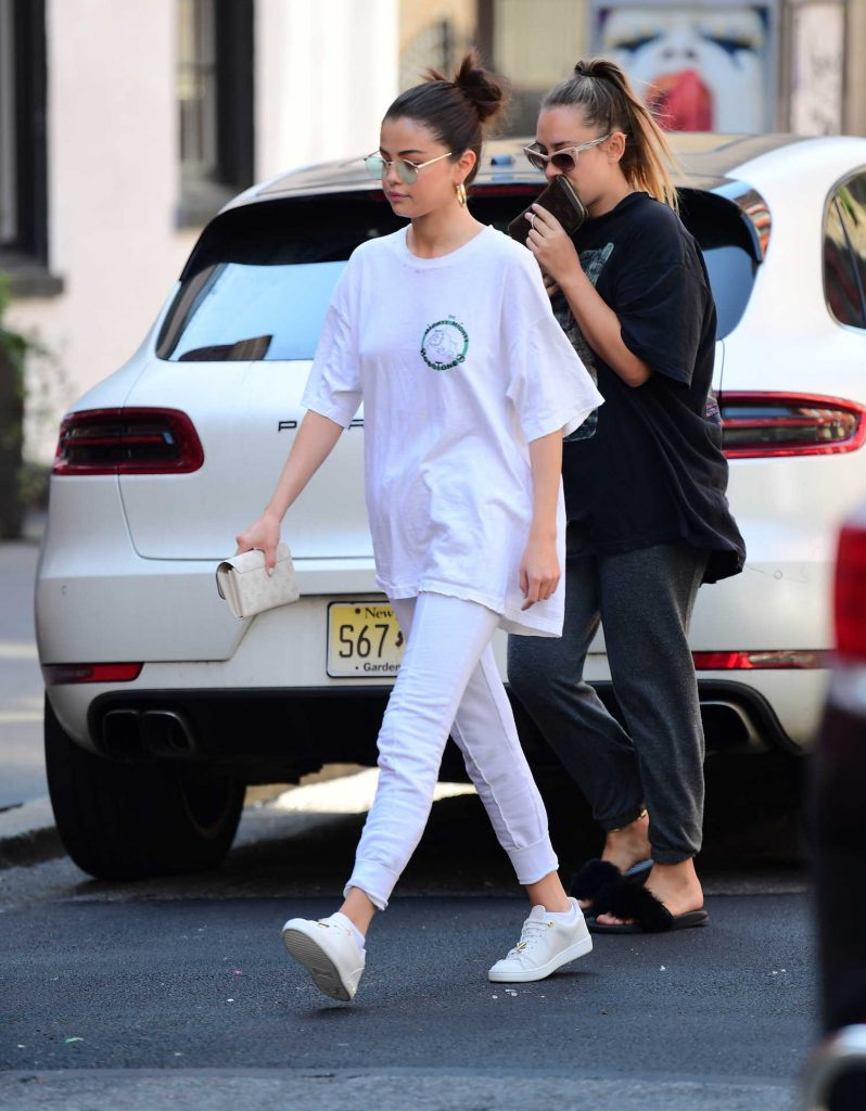 Selena Gomez Wears all White Out in NYC-3
