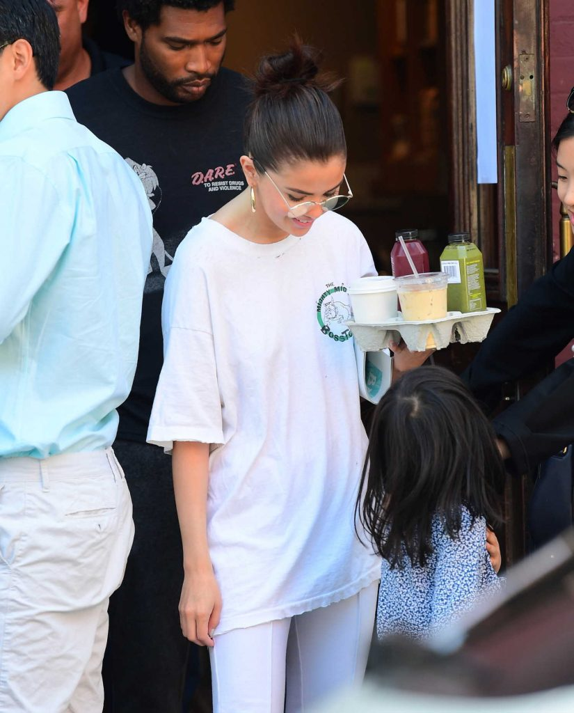 Selena Gomez Wears all White Out in NYC-4