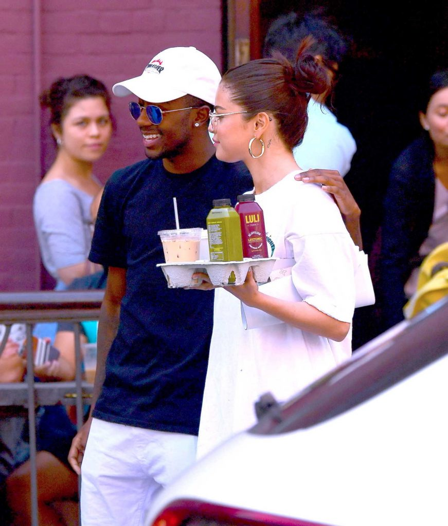 Selena Gomez Wears all White Out in NYC-5