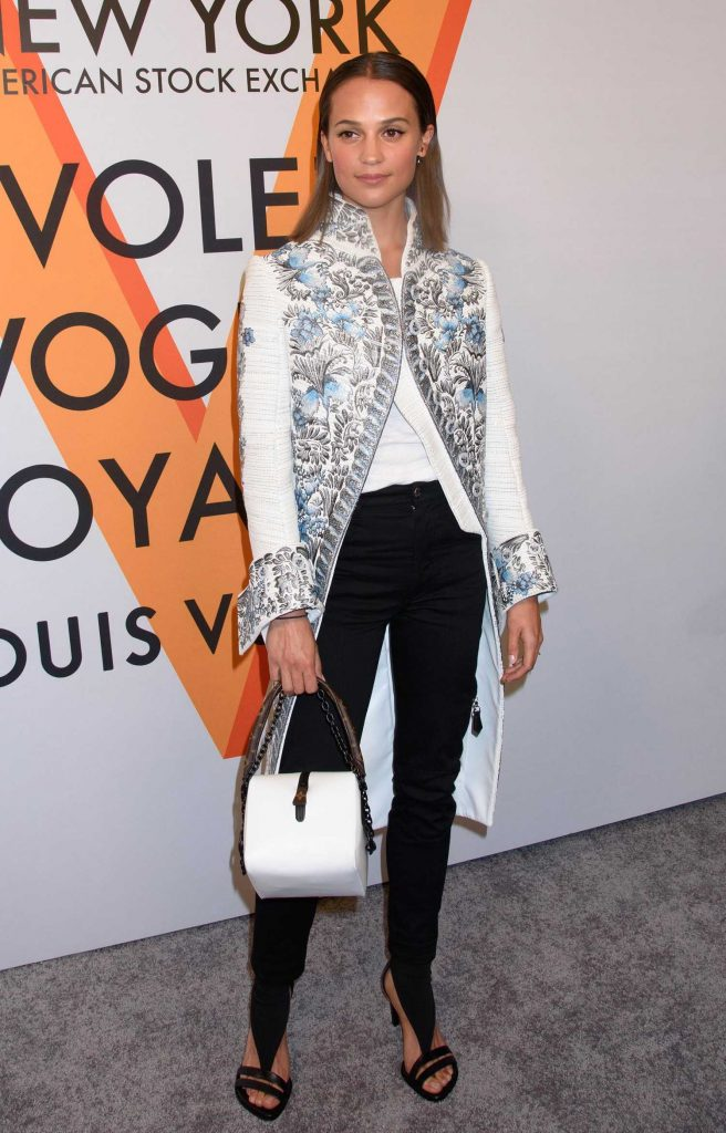 Alicia Vikander at the Volez, Voguez, Voyagez: Louis Vuitton Exhibition Opening in NYC-2