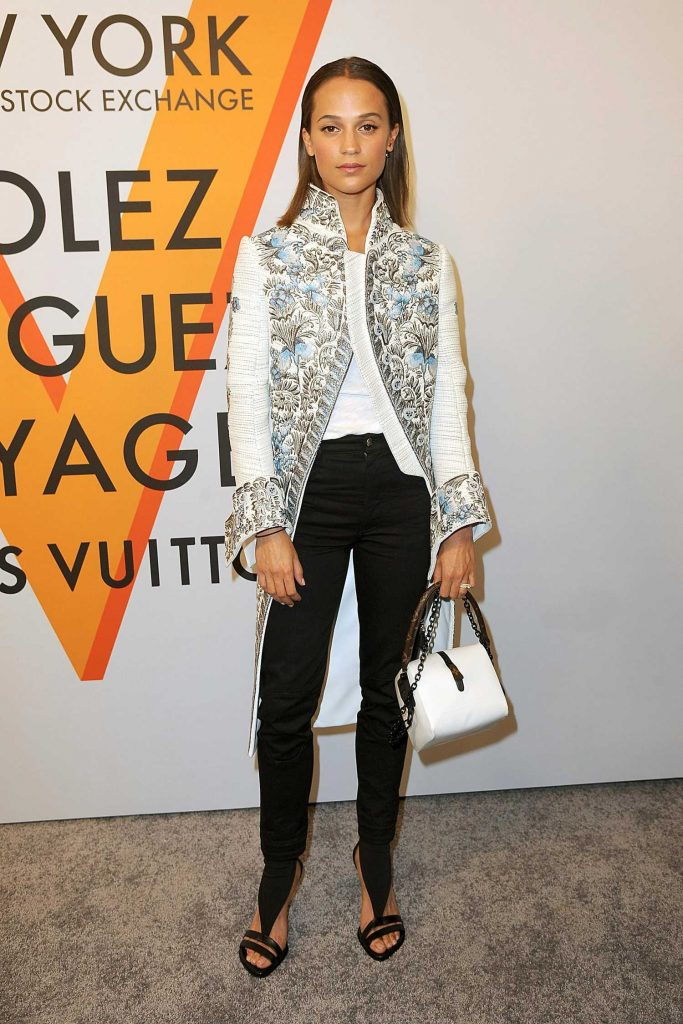 Alicia Vikander at the Volez, Voguez, Voyagez: Louis Vuitton Exhibition Opening in NYC-3