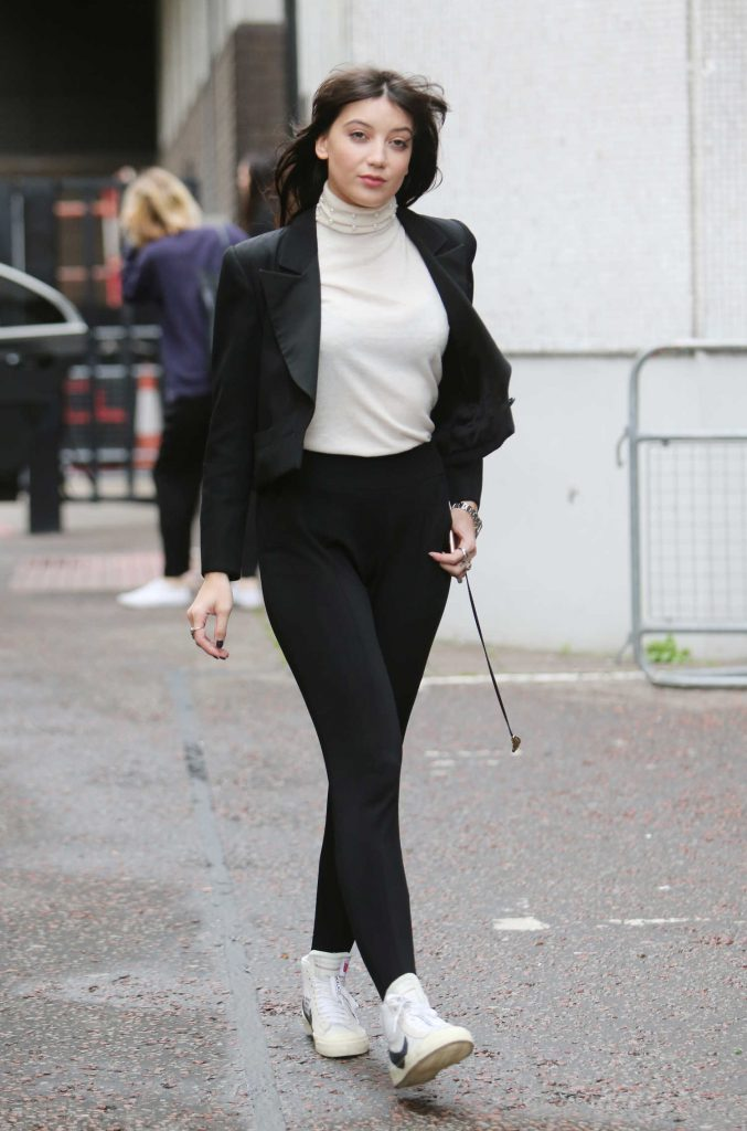 Daisy Lowe Wears a White Turtleneck Out in London-3