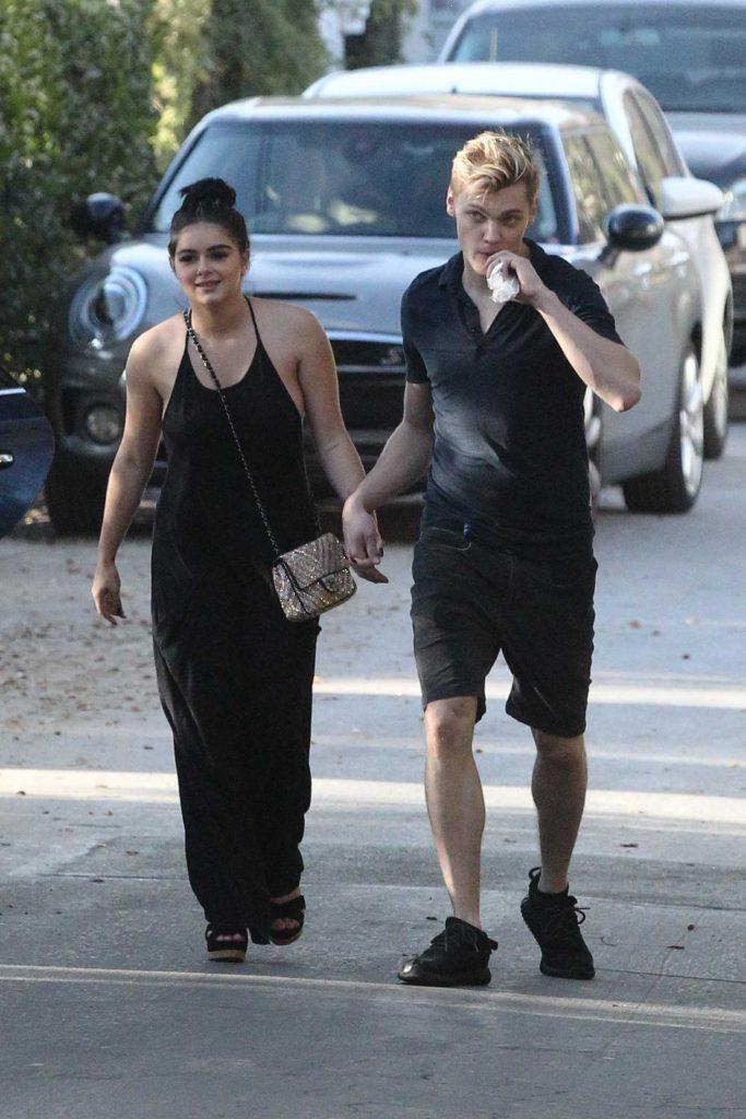 Ariel Winter Wears a Black Pant Suit With Levi Meaden in LA-2