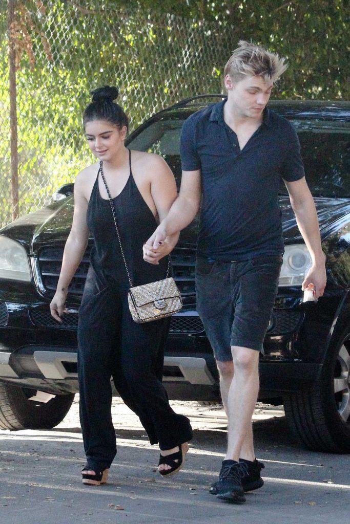 Ariel Winter Wears a Black Pant Suit With Levi Meaden in LA-4