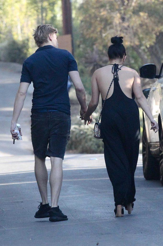 Ariel Winter Wears a Black Pant Suit With Levi Meaden in LA-5