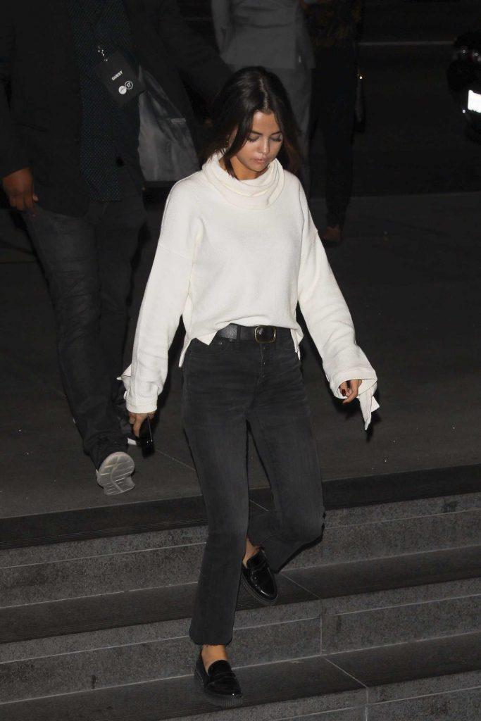 Selena Gomez Wears a White Sweater out in LA-1
