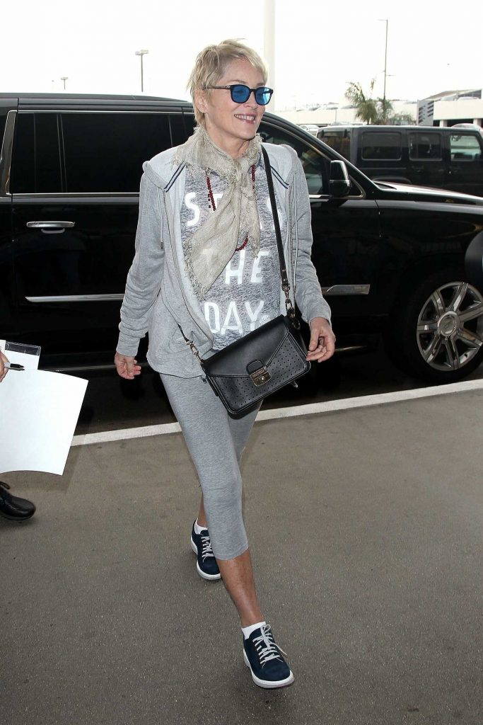 Sharon Stone Arrives at LAX Airport in Los Angeles-1