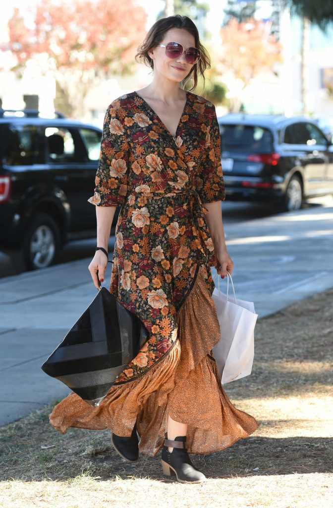 Bethany Joy Lenz Wears a Long Dress to Pick up Lunch in LA-4