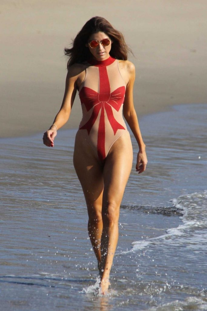 Blanca Blanco Wears a Christmas Bow Sheer Swimsuit at the Beach in Malibu-1