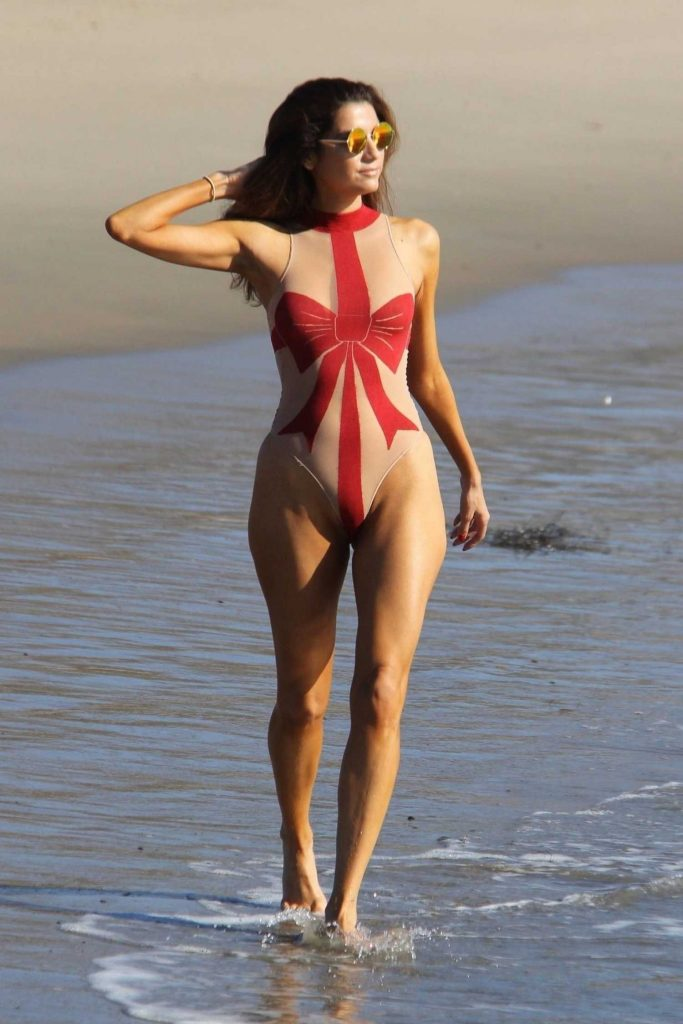 Blanca Blanco Wears a Christmas Bow Sheer Swimsuit at the Beach in Malibu-3