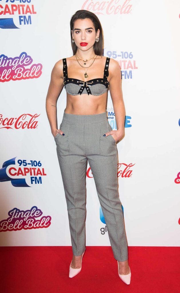 Dua Lipa Attends the Capital FM Jingle Bell Ball with Coca-Cola at the O2 Arena in London-1