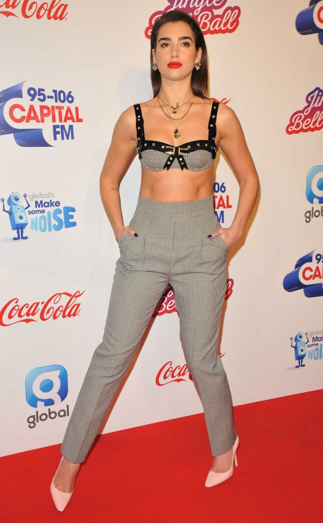 Dua Lipa Attends the Capital FM Jingle Bell Ball with Coca-Cola at the O2 Arena in London-3