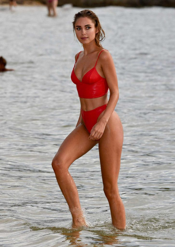 Kimberley Garner in a Red Bikini at the Beach in Caribbean-1