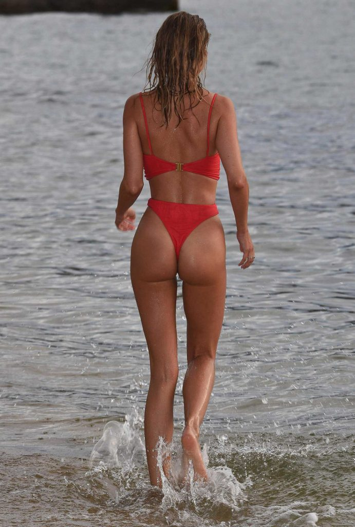Kimberley Garner in a Red Bikini at the Beach in Caribbean-3