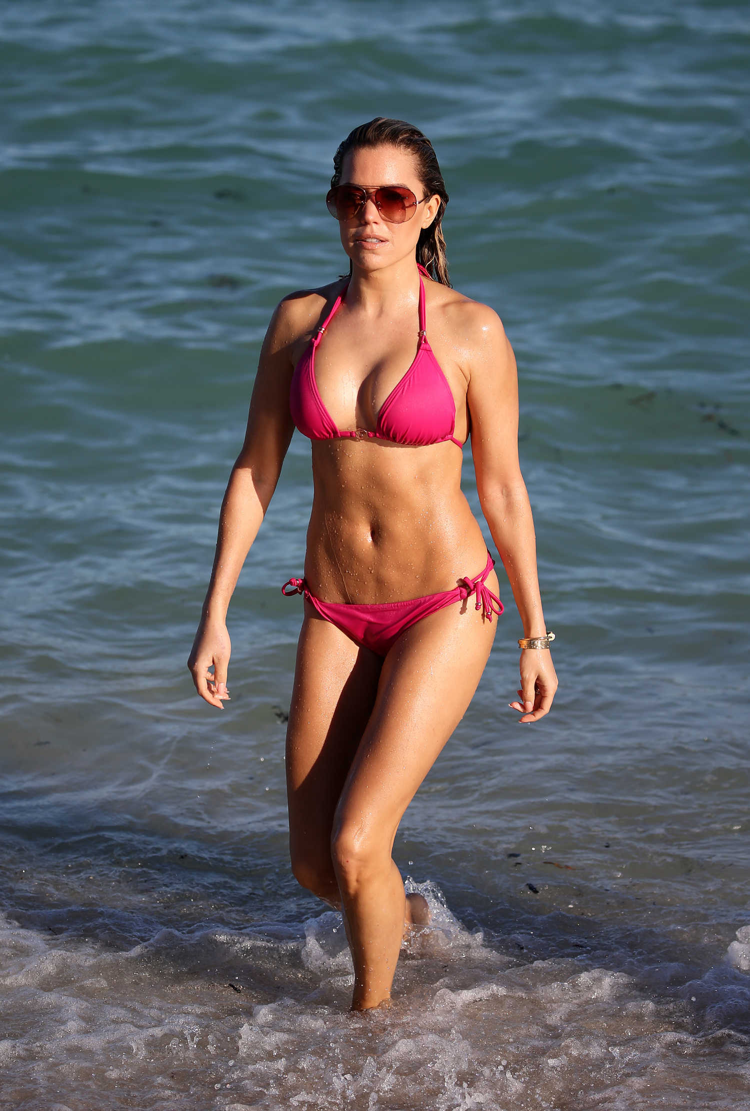sylvie meis wears a pink bikini at the beach in miami celeb donut. Black Bedroom Furniture Sets. Home Design Ideas