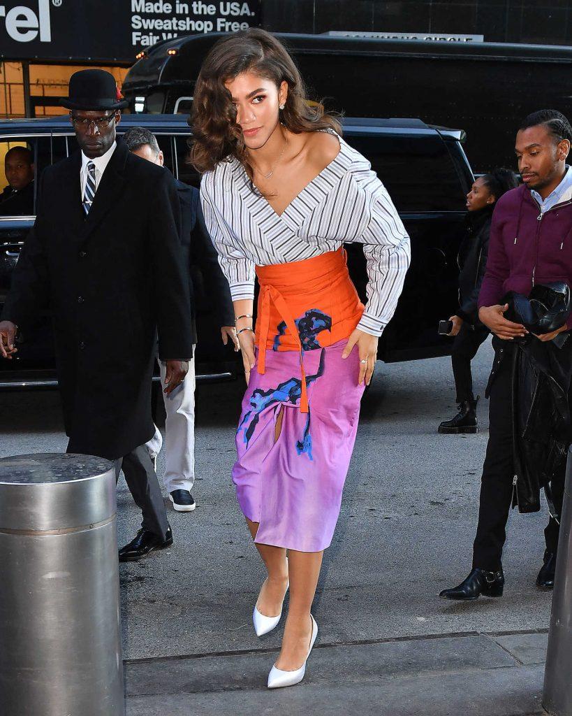 Zendaya Wears a Printed Skirt in New York City-1