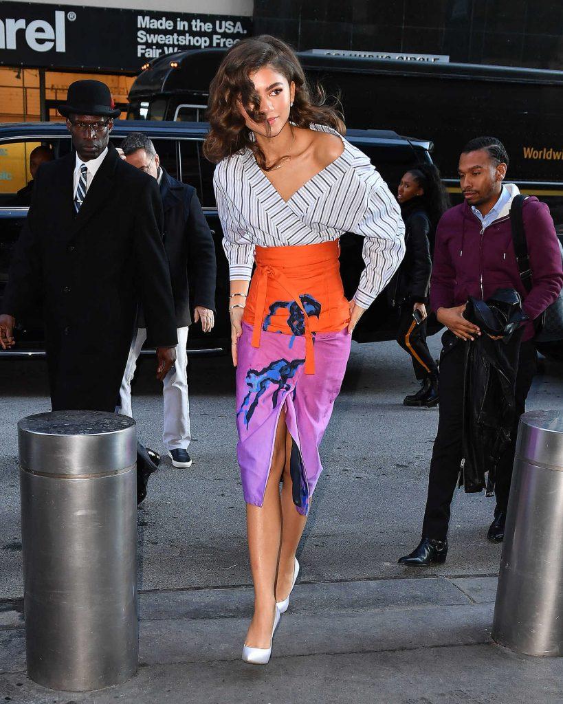 Zendaya Wears a Printed Skirt in New York City-4