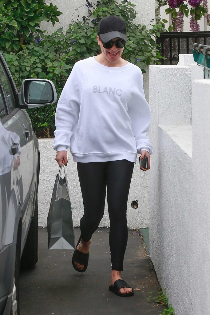 Lea Michele Leaves the Brentwood Spa and Salon in Brentwood-2