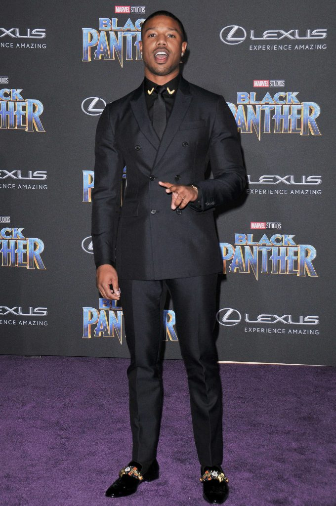 Michael B. Jordan at the Black Panther Premiere in Hollywood-1