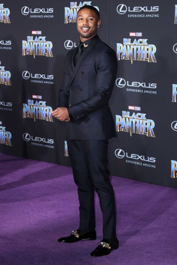 Michael B. Jordan at the Black Panther Premiere in Hollywood-3