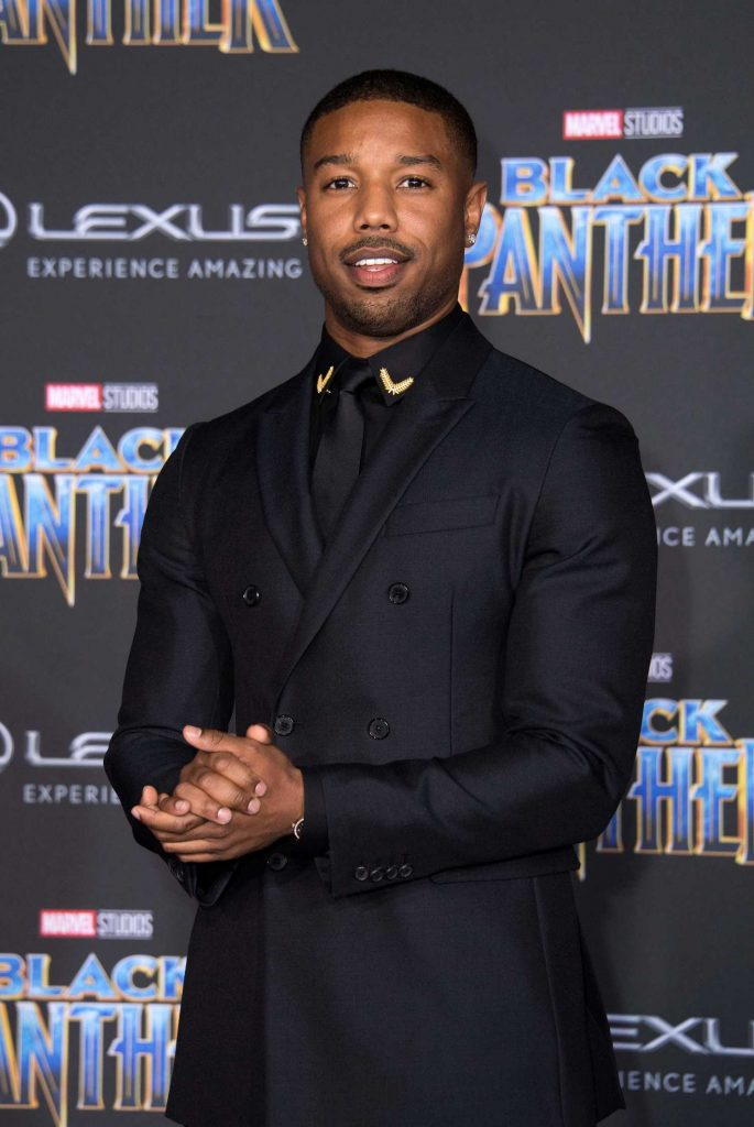 Michael B. Jordan at the Black Panther Premiere in Hollywood-4