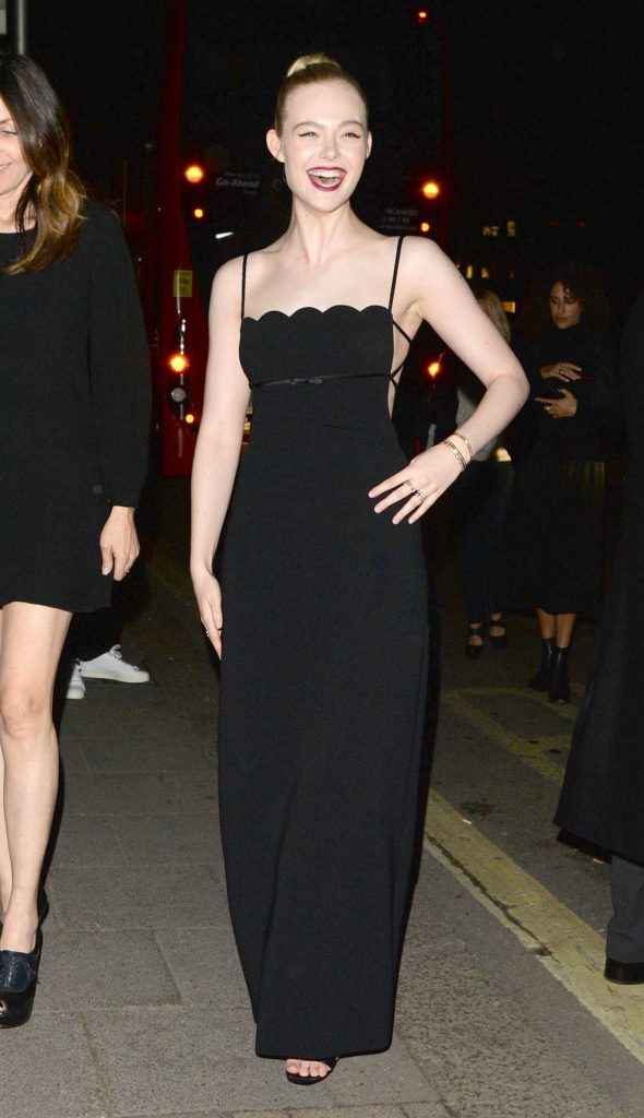 Elle Fanning Arrives at British Vogue and Tiffany Fashion and Film Party at Annabel's in London-1