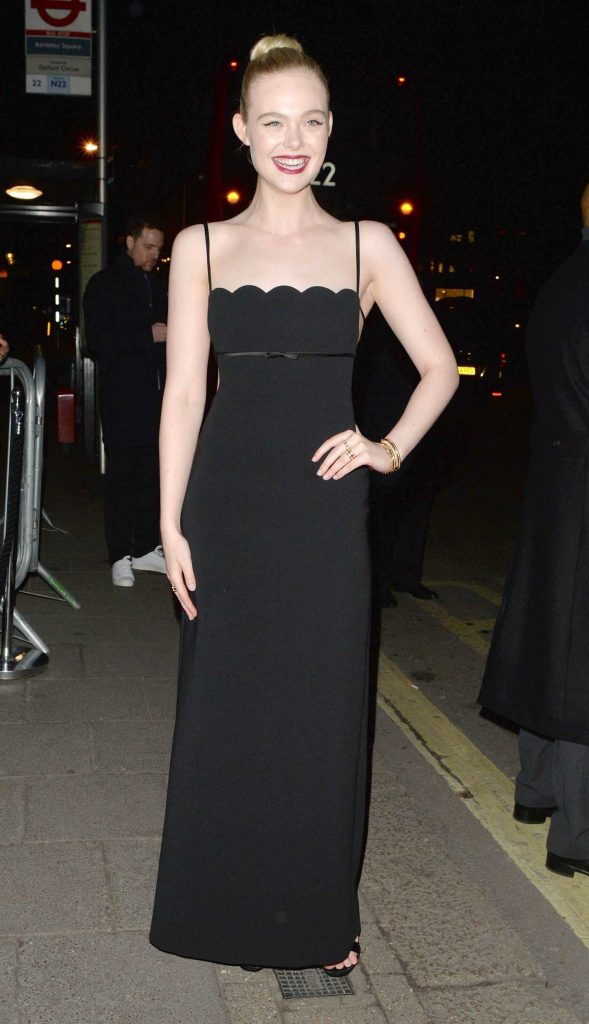 Elle Fanning Arrives at British Vogue and Tiffany Fashion and Film Party at Annabel's in London-2