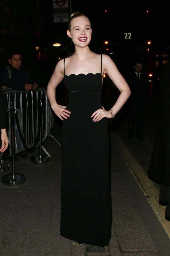 Elle Fanning Arrives at British Vogue and Tiffany Fashion and Film Party at Annabel's in London-3