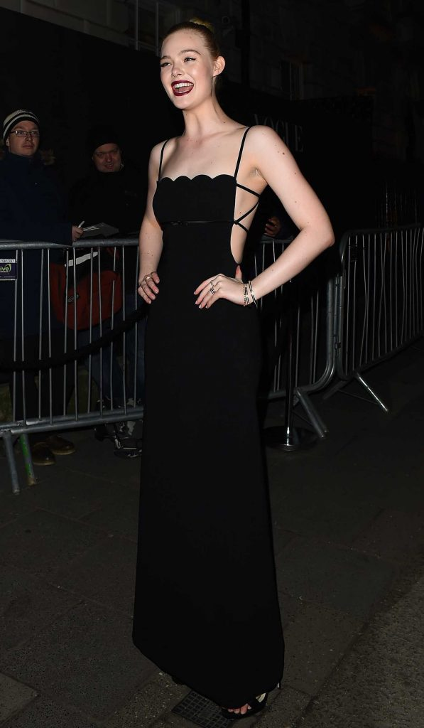 Elle Fanning Arrives at British Vogue and Tiffany Fashion and Film Party at Annabel's in London-4