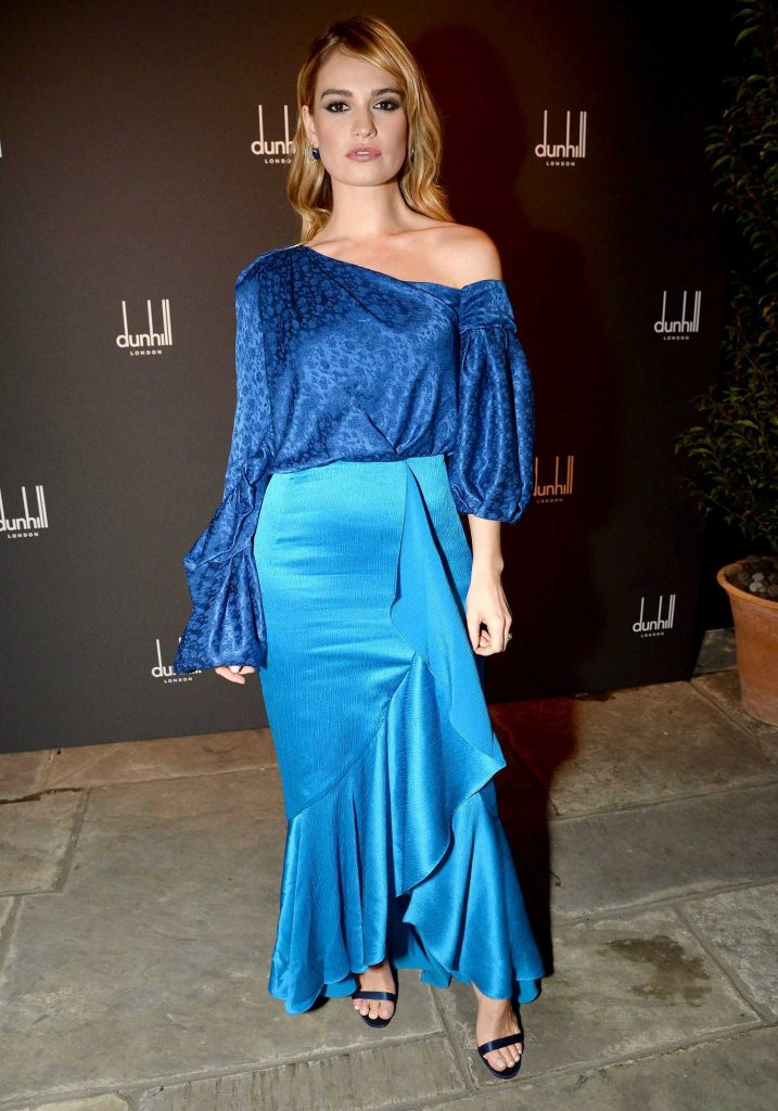 Lily James at the Dunhill and GQ Pre-BAFTA Filmmakers Dinner and Party in London-1
