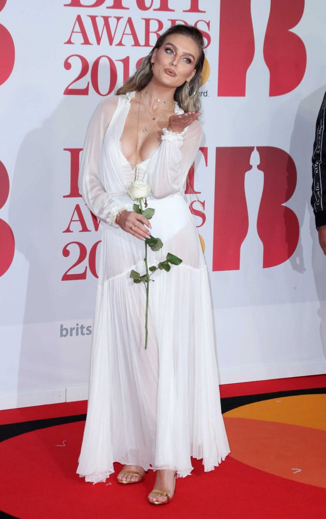 Perrie Edwards Attends the 2018 Brit Awards at the O2 Arena in London-4