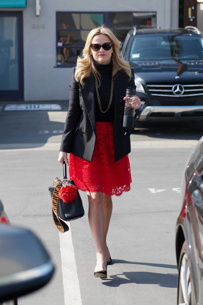 Reese Witherspoon Wears a Black Jacket and a Red Skirt Out in LA-1