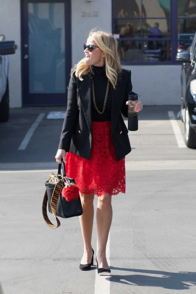 Reese Witherspoon Wears a Black Jacket and a Red Skirt Out in LA-2