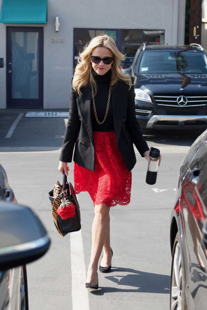 Reese Witherspoon Wears a Black Jacket and a Red Skirt Out in LA-3