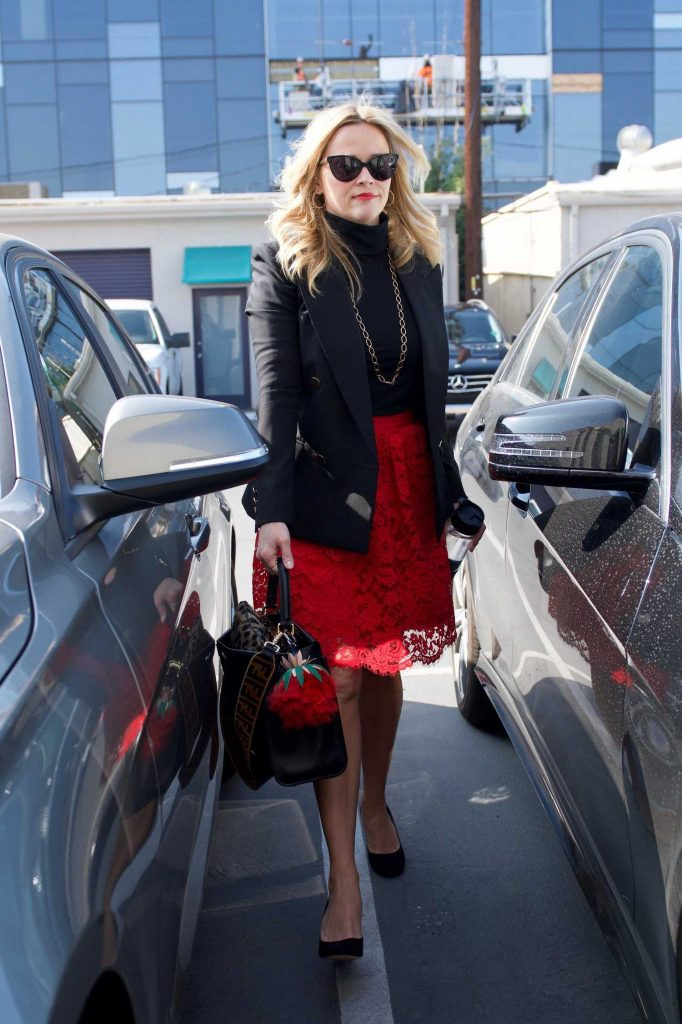 Reese Witherspoon Wears a Black Jacket and a Red Skirt Out in LA-4