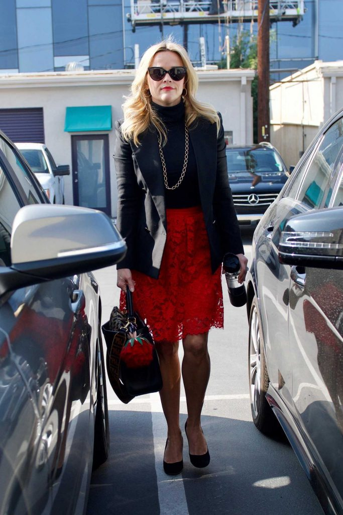 Reese Witherspoon Wears a Black Jacket and a Red Skirt Out in LA-5