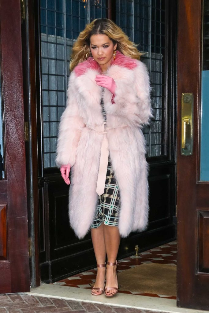 Rita Ora Wears a Pink Fur Coat as She Leaves The Tonight Show Starring Jimmy Fallon in NYC-1