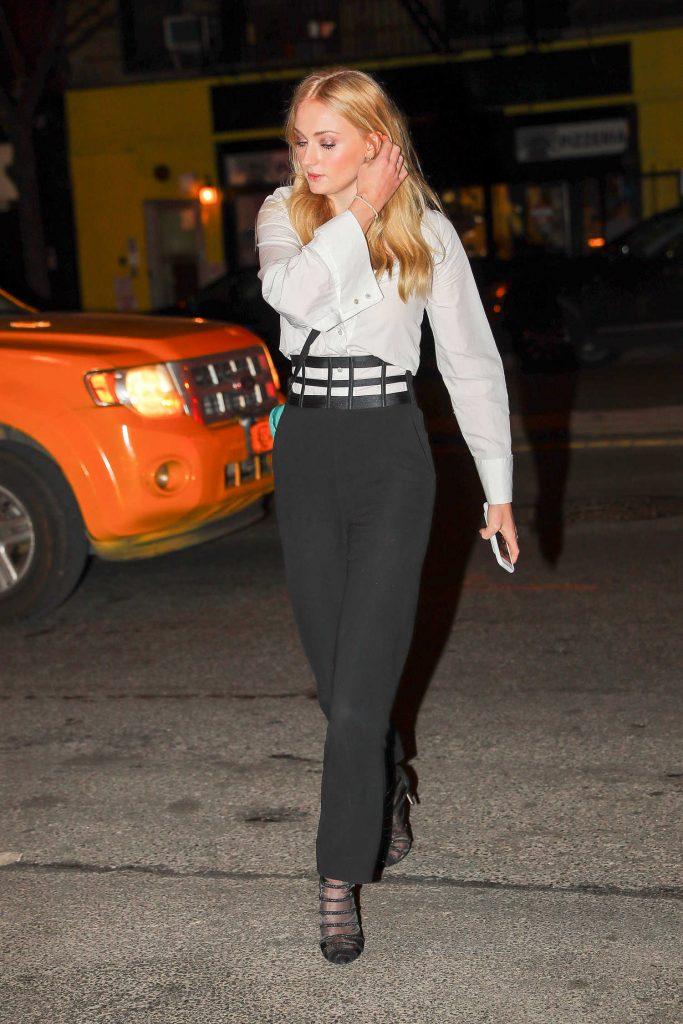 Sophie Turner Wears a Black and White Out in NYC-1