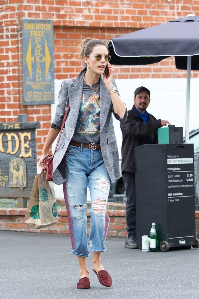Alessandra Ambrosio Talks on the Phone Out Los Angeles-1
